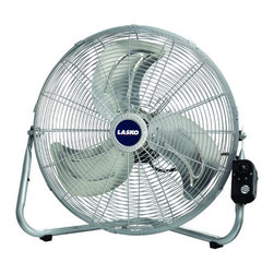 "Lasko Products - High Velocity Floor Fan 20"" - Max Performance, 20"" High Velocity, Floor Fan or Wallmount Fan, Converts Easily from Wall to Floor Use, INDUSTRIAL GRADE, Durable Tubular Steel Construction, Confortable Carrying Handle, Rubber Pads Protect Surfaces, Metal Fan Blades Deliver Maximum Air Movement, 3 Powerful Speeds, Three-Prong Grounded Plug, ETL Listed, Pivots to Direct Air Flow, Front Mounted Control for Added Convenience, (Included a Patented Fused Safety Plug)."