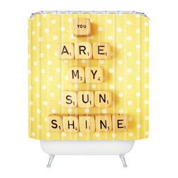 DENY Designs - Happee Monkee You Are My Sunshine Shower Curtain - Who says bathrooms can't be fun? To get the most bang for your buck, start with an artistic, inventive shower curtain. We've got endless options that will really make your bathroom pop. Heck, your guests may start spending a little extra time in there because of it!