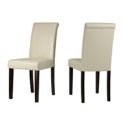 Cortesi Home - Cece Dining Chairs in Leather like Vinyl, Cream - The Cece dining chair features a minimal contemporary design with a rolled back. It is upholstered in a cream leather like vinyl with cappuccino finish legs. Solid wood frame and legs provide strength and durability.