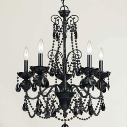 Black Chandelier - Black glass beads drape this stately and beautifully bold Black Chandelier. This is a modern take on a traditional light fixture that will add instant style to your bedroom, living room, or kitchen. We recommend the use of an electrician for the hardwiring of this product.