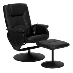 Flash Furniture - Flash Furniture Massaging Black Leather Recliner and Ottoman - Enjoy a relaxing massage in the comfort of your own home or office with this recliner and ottoman set. This set offers maximum massaging power that kneads your back, lumbar area, thighs and legs. Whatever your preferred intensity the five pre-programmed settings are sure to suit your needs. Look no further for your perfect massage chair offered at an incredible price! [BT-753P-MASSAGE-BK-GG]