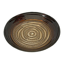 iMax - iMax Keops Glass Bowl X-33138 - Color inspired from a mocha swirl bistro treat, the Keops glass bowl features a fading deep coffee brown into a light cream center. Food safe.