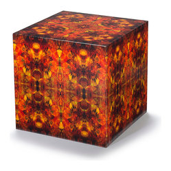 Rande Johnson Design - Cube Table 2 - If you're trying to multiply the cool factor in your contemporary room, this table has style cubed. The box is made of wood, then covered in canvas printed with an old-meets-new-world pattern in brilliant reds and oranges. It's coated with a clear acrylic for long-lasting beauty.