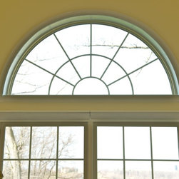 Treesdale Townhouse Project - Closeup of top of Interior Living Room Round Top Window - Photographs by: Metropolitan Window Company 800-655-8411