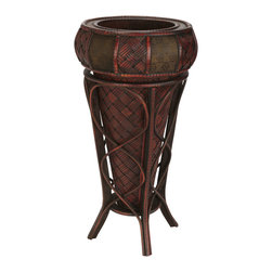 Nearly Natural - Nearly Natural Decorative Stand Planter - This vase with stand is perfect for those enjoying an elaborate collection of textures and colors. Resting in a vivid burgundy holder with intertwining designs, the island-inspired cross thatch mat design peeks out at admirers, demanding a closer look. Then the rim boasts two different alternating patterns, creating a rich blend of colors and shapes. Perfect for any home or office, and makes a great gift, too.