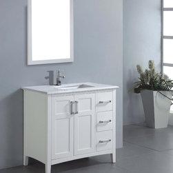 'Salem' 36-inch White Marble Top Single Sink Bathroom Vanity -