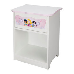 Delta - Disney Princess Night Stand - This ideal bedside storage solution with reversible drawers featuring iconic Disney Princesses is the perfect addition to any little girls room, with its radiant white color and soft pink detailing. This piece is perfect for the princess in your castle.