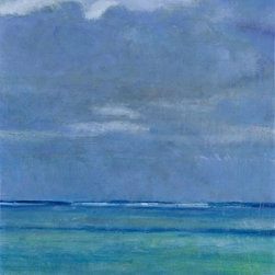 Ocean Sky Artwork - large oil, seascape, looseley painted, layers and underpainting