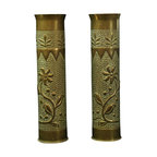 EuroLux Home - Consigned Antique Shell Case Brass Vases Belgian - Product Details