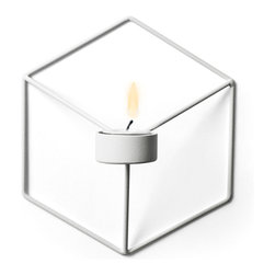 MENU - POV Wall Candleholder, White - POV Candle Holder is a light, smart and playful product that can be used as a single piece or in a group. Beautiful on its own and stunning as graphical patterns on the wall or on the table.