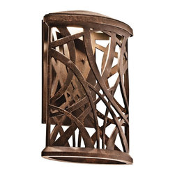 KICHLER - KICHLER 49248AGZLED Maya Palm LED Contemporary Outdoor Wall Sconce - This 1 light LED wall lantern from the free-form Maya Palm collection features a flattened, cylinder-shaped housing and palm-leaf-inspired accents. This Aged Bronze piece creates beautiful light patterns to grace your homes exterior. Rated for wet locations. Meets Energy Star, Title 24, ADA and Dark Sky requirements. Photocell and bulb included.