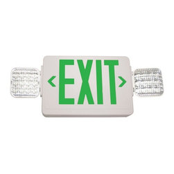 Exitronix - GVLED Exit Emergency Light with Battery Backup - Single Face, Green Letters - Combining LED exit illumination with reliable LED lamp heads, this attractive low-profile design offers maintenance-free, long life dependable service. Easily mounts above doors and in restricted spaces to fit any application.