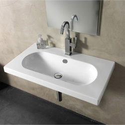 """Tecla - Sleek Contemporary Rectangular Wall Mounted, Vessel, or Built-In Sink - This sleek beautiful white ceramic bathroom sink is designed and made in Italy by Tecla. Rectangular sink with oval shaped basin can be installed and used as a wall mounted, above counter vessel, or vanity sink. Includes overflow and is available with no faucet hole, a single hole (as shown), or 3 holes. Sink dimensions: 31.69"""" (width), 17.72"""" (depth)"""
