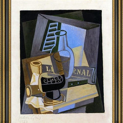 """Art MegaMart - Juan Gris Still Life Front Window - 16"""" x 20"""" Juan Gris Still Life in Front of the Window framed premium canvas print reproduced to meet museum quality standards. Our Museum quality canvas prints are produced using high-precision print technology for a more accurate reproduction printed on high quality canvas with fade-resistant, archival inks. Our progressive business model allows us to offer works of art to you at the best wholesale pricing, significantly less than art gallery prices, affordable to all. This artwork is hand stretched onto wooden stretcher bars, then mounted into our 3 3/4"""" wide gold finish frame with black panel by one of our expert framers. Our framed canvas print comes with hardware, ready to hang on your wall.  We present a comprehensive collection of exceptional canvas art reproductions by Juan Gris."""