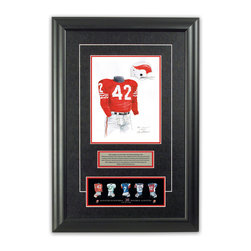"Heritage Sports Art - Original art of the CFL 1962 Montreal Alouettes uniform - This beautifully framed piece features an original piece of watercolor artwork glass-framed in an attractive two inch wide black resin frame with a double mat. The outer dimensions of the framed piece are approximately 17"" wide x 24.5"" high, although the exact size will vary according to the size of the original piece of art. At the core of the framed piece is the actual piece of original artwork as painted by the artist on textured 100% rag, water-marked watercolor paper. In many cases the original artwork has handwritten notes in pencil from the artist. Simply put, this is beautiful, one-of-a-kind artwork. The outer mat is a rich textured black acid-free mat with a decorative inset white v-groove, while the inner mat is a complimentary colored acid-free mat reflecting one of the team's primary colors. The image of this framed piece shows the mat color that we use (Red). Beneath the artwork is a silver plate with black text describing the original artwork. The text for this piece will read: This original, one-of-a-kind watercolor painting of the 1962 Montreal Alouettes uniform is the original artwork that was used in the creation of this Montreal Alouettes uniform evolution print and thousands of other Montreal Alouettes products that have been sold across North America. This original piece of art was painted by artist Nola McConnan for Maple Leaf Productions Ltd. Beneath the silver plate is a 3"" x 9"" reproduction of a well known, best-selling print that celebrates the history of the team. The print beautifully illustrates the chronological evolution of the team's uniform and shows you how the original art was used in the creation of this print. If you look closely, you will see that the print features the actual artwork being offered for sale. The piece is framed with an extremely high quality framing glass. We have used this glass style for many years with excellent results. We package every piece very carefully in a double layer of bubble wrap and a rigid double-wall cardboard package to avoid breakage at any point during the shipping process, but if damage does occur, we will gladly repair, replace or refund. Please note that all of our products come with a 90 day 100% satisfaction guarantee. Each framed piece also comes with a two page letter signed by Scott Sillcox describing the history behind the art. If there was an extra-special story about your piece of art, that story will be included in the letter. When you receive your framed piece, you should find the letter lightly attached to the front of the framed piece. If you have any questions, at any time, about the actual artwork or about any of the artist's handwritten notes on the artwork, I would love to tell you about them. After placing your order, please click the ""Contact Seller"" button to message me and I will tell you everything I can about your original piece of art. The artists and I spent well over ten years of our lives creating these pieces of original artwork, and in many cases there are stories I can tell you about your actual piece of artwork that might add an extra element of interest in your one-of-a-kind purchase."