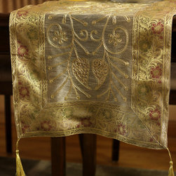 """Elegant Table Runners - Eye catching """"Ornamental Embroidered"""" Light Gold table runner. Hand crafted in India. Great complement to any table top during the holidays."""