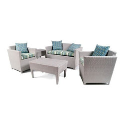 Boca Rattan - Coral Beach 5 Pc Rattan Sofa Set (655) - Fabric: 655Set includes 2 chairs, loveseat, end table and coffee table. Cushions included. Constructed from strong and durable rattan. Pictured in Gray. Chair: 28.5 in. W x 26.5 in. D x 30.5 in. H (30 lbs.). Loveseat: 46.5 in. L x 28.5 in. W x 30.5 in. H (60 lbs.). Coffee table: 34 in. W x 22 in. D x 18 in. H (25 lbs.). End table: 20 in. W x 20 in. D x 20 in. H (35 lbs.)