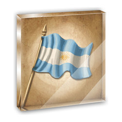 "Made on Terra - Vintage Argentina Flag Mini Desk Plaque and Paperweight - You glance over at your miniature acrylic plaque and your spirits are instantly lifted. It's just too cute! From it's petite size to the unique design, it's the perfect punctuation for your shelf or desk, depending on where you want to place it at that moment. At this moment, it's standing up on its own, but you know it also looks great flat on a desk as a paper weight. Choose from Made on Terra's many wonderful acrylic decorations. Measures approximately 4"" width x 4"" in length x 1/2"" in depth. Made of acrylic. Artwork is printed on the back for a cool effect. Self-standing."
