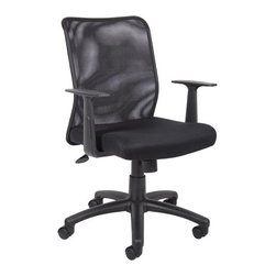 "Boss Office Products - Boss Office Mesh Task Chair with T-Arms - Boss Office Products-Office Chairs-B6106-Mesh back designed to prevent body heat and moisture build up. Breathable mesh fabric seat with ample padding. Upright locking position. Adjustable tilt tension control. Pneumatic gas lift seat height adjustment. 25"" nylon base. Hooded double wheel casters. T-arms."