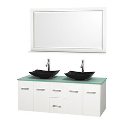 "Wyndham Collection - Centra 60"" White Double Vanity, Green Glass Top, Arista Black Granite Sinks - Simplicity and elegance combine in the perfect lines of the Centra vanity by the Wyndham Collection. If cutting-edge contemporary design is your style then the Centra vanity is for you - modern, chic and built to last a lifetime. Available with green glass, pure white man-made stone, ivory marble or white carrera marble counters, with stunning vessel or undermount sink(s) and matching mirror(s). Featuring soft close door hinges, drawer glides, and meticulously finished with brushed chrome hardware. The attention to detail on this beautiful vanity is second to none."