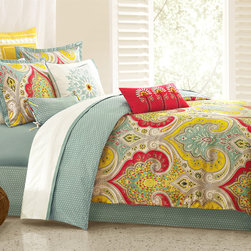 Echo - Echo Jaipur Comforter Set - Add a splash of color in your bedroom with this bold and beautiful paisley bedding collection. The fresh color is vibrant and fun. The fabric is a super soft 300 thread count sateen that adds just a slight sheen to bring out the pops of color. The comforter has hidden bartacks so you get a clean finish. Comforter face: T300 100% cotton print fabric; back: T180 100% cotton printing fabric; 100% polyester filling;Sham face: 100% cotton;sateen print fabric;back:100% cotton sateen fabric;Bedskirt: 80/20 polyester cotton fabric for the platform, 100% cotton printing fabric for the drop