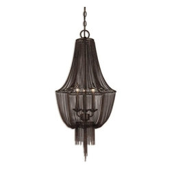 Uttermost - Uttermost Lezzeno Transitional Foyer Light X-89912 - Draped Jewelry Chain Finished In A Dark Oil Rubbed Bronze With Gold High Lights.