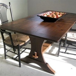 Half-moon Style Trestle Base Dining Table - Made by www.ecustomfinishes.com