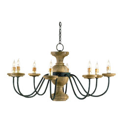Kathy Kuo Home - Stroud French Country 8 Light Elegant Chandelier - The comfortable elegance of the Stroud chandelier is reflected in the simple form of carved wood and wrought iron. The fixture brings a rustic silhouette to dining room or entry. The chandelier is hand finished in industrial black and natural, using a process that lends an air of depth and richness not achieved by less time-consuming methods.