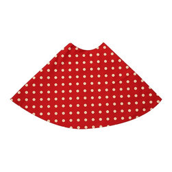 "5 Surry Lane - Red Polka Dot Holiday Tree Skirt - Designer Holiday Tree Skirt.  54"" Round.  Fully lined."