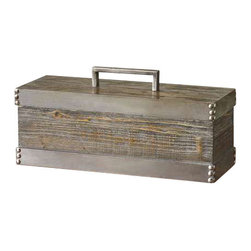 Uttermost Lican Natural Wood Decorative Box - Natural wood with a light chestnut stain and antiqued silver accents. Removable lid. Natural wood box with a light chestnut stain and antiqued silver accents. Removable lid.