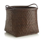 Ita Basket - Woven by skilled craftsmen in Indonesia, this beautiful warm brown basket is crafted of rattan peel. Rounded square shape has a sturdy pedestal base with elegantly curved handles for easy carrying.