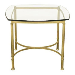 Used Regency Italian Brass Side Table - This lovely Mid-Century brass and glass side table is subtle glam done right. In excellent condition featuring an ogee edge. The beveled glass sits atop detailed legs. Made in Italy circa the 1970's. Please note, there is a little oxidation on the brass. See photos for details.