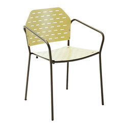 "Les Jardins - Fling stacking armchair - Fling armchair / Steel/ Light Green 22"" x 17"" x 29"""