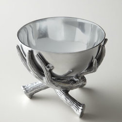 """Arthur Court - Arthur Court Antler Nut Bowl - Add rustic beauty to dining or serving with this small nut bowl comprising a faux antler base and smooth, sleek basin. Handcrafted of satin-finish aluminum. Hand wash. 5.5""""Dia x 4.75""""T. Imported."""