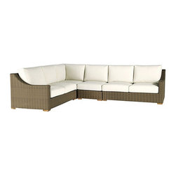 Ballard Designs - Sutton 4 Piece Sectional - Includes Left Arm Loveseat, Right Arm Loveseat, Armless & Corner Chair. Off-white cushions included. Tapered foot made of Teak. Coordinates with Sutton Dining Collection & Sutton Lounge Collection. Each piece comes fully assembled. A relaxed blend of warm textures and sophisticated style, our Sutton 4-Piece Sectional takes weekend comfort very seriously. The strong, rustproof aluminum framed are wrapped in all-weather rattan that resists fading, mildew and moisture. Each strand has multiple shades of warm tan, gray and mocha to create the warm Weathered Driftwood finish. Sutton Outdoor Sectional features: . . . . . Replacement cushions available.