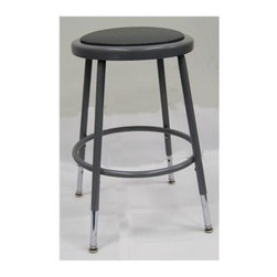 National Public Seating - Adjustable Stool w Vinyl Padding - 14 in. Dia. seat with 11.5 in. Dia. and 0.5 in. vinyl padding riveted through steel seat pan. 0.63 in. foot rings O.D. welded to each leg by four contact points at each leg for added rigidity. Meets ANSI and BIFMA standards. Steel contains 30-40% of post-consumer waste (recycled). Meets ANSI and BIFMA standards. Warranty: Five years for material. Made from 0.88 O.D. 18-gauge heavy duty steel tubing. Adjustable seat height: 19 - 27 in.. Overall: 14 in. L x 14 - 16 in. W x 19 - 27 in. H (10 lbs.). Assembly Instructions