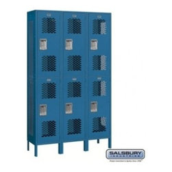 Salsbury Industries - Extra Wide Vented Metal Locker - Double Tier - 3 Wide - 6 Feet High - 15 Inches - Extra Wide Vented Metal Locker - Double Tier - 3 Wide - 6 Feet High - 15 Inches Deep - Blue - Assembled