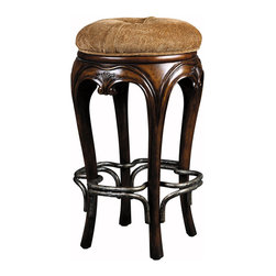 Portabella Bar Stool - The best seat in the house is definitely in the parlor with this incredibly comfortable barstool. Featuring smooth mahogany legs, a pewter footrest and graceful curves.