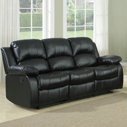 Homelegance - Homelegance Cranley Double Reclining Sofa in Black Leather - The reclining Cranley Collection utilizes release mechanism that with a gentle pull sends you straight into your ultimate comfort zone. Tufted bonded leather covers the overstuffed arms  seats and backs furthering the comfort for you  your family and friends. Offered in black or brown.