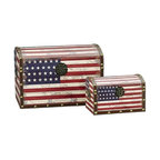 """Household Essentials - American Flag Design Trunk/Large And Small/Dome Lid - Decorative storage trunks are so much more than just decoration they are a fast and easy way to redesign your space.  Available in a variety of sizes to create versatile storage options that meet your needs.  This set comes with 1 large trunk and 1 small trunk featuring Stars and Stripes superimposed on an aged historical map for a time-worn feel. Details:Set of two: large and smallMade of sturdy composite.  Finished with shimmer decoupage.Faux leather and brass accents.Polypropylene liner you can wipe it clean with a damp cloth.Attached lid.Front closure secures lid. Color: Antique Red white and blue Dimensions:Large - 10.4lbs.13.39""""h x 19.69""""w x 13""""d34cm x 50cm x 33cm Interior 12.5""""h  (to dome) x 19""""w x 12""""d31.2cm x 48.3cm x 30.5cm Small - 2.9lbs.7.48""""h x 11.81""""w x 7.28""""d19cm x 30cm x 18.5cm Interior 6.75""""h (to dome) x 11""""w x 6.75""""d17.1cm x 27.9cm x 17.1cm"""