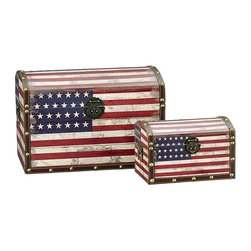 "Household Essentials - American Flag Design Trunk/Large And Small/Dome Lid - Decorative storage trunks are so much more than just decoration they are a fast and easy way to redesign your space.  Available in a variety of sizes to create versatile storage options that meet your needs.  This set comes with 1 large trunk and 1 small trunk featuring Stars and Stripes superimposed on an aged historical map for a time-worn feel. Details:Set of two: large and smallMade of sturdy composite.  Finished with shimmer decoupage.Faux leather and brass accents.Polypropylene liner you can wipe it clean with a damp cloth.Attached lid.Front closure secures lid. Color: Antique Red white and blue Dimensions:Large - 10.4lbs.13.39""h x 19.69""w x 13""d34cm x 50cm x 33cm Interior 12.5""h  (to dome) x 19""w x 12""d31.2cm x 48.3cm x 30.5cm Small - 2.9lbs.7.48""h x 11.81""w x 7.28""d19cm x 30cm x 18.5cm Interior 6.75""h (to dome) x 11""w x 6.75""d17.1cm x 27.9cm x 17.1cm"