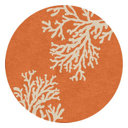 Jaipur Rugs - Abstract Pattern Red /Orange Indoor/ Outdoor Rug - GD01, 8'RD - Boldly scaled designs and a sun drenched color palette punctuate the Grant Design Indoor-Outdoor Collection. Designed by the Atlanta-based design firm Grant Design Collaborative, these nature-inspired patterns bring a sense of fun and intrigue to any living space. Crafted in durable hand-hooked polypropylene, the playful collection is designed to handle the elements of the outdoors but has the design moxie to hold its own within any indoor space.