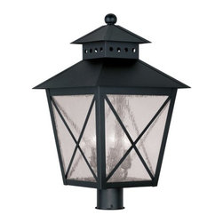"Livex Lighting - Livex Lighting 2678 Montgomery 22.5 Inch Tall Post Light - Livex Lighting 2678 Montgomery Three Light Outdoor Post LightFeaturing a prominent workman style design, the Montgomery 22.5"" tall three light post light features a simple rustic kerosene lamp design with a perforated chimney, four sided roof, and clear seedy glass with ""x"" shaped guards. This arts and crafts style light will enhance the look of any outdoor decor.Livex Lighting 2678 Features:"