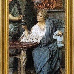 "Sir Lawrence Alma-Tadema-14""x28"" Framed Canvas - 14"" x 28"" Sir Lawrence Alma-Tadema The Roman Wine Tasters framed premium canvas print reproduced to meet museum quality standards. Our museum quality canvas prints are produced using high-precision print technology for a more accurate reproduction printed on high quality canvas with fade-resistant, archival inks. Our progressive business model allows us to offer works of art to you at the best wholesale pricing, significantly less than art gallery prices, affordable to all. This artwork is hand stretched onto wooden stretcher bars, then mounted into our 3"" wide gold finish frame with black panel by one of our expert framers. Our framed canvas print comes with hardware, ready to hang on your wall.  We present a comprehensive collection of exceptional canvas art reproductions by Sir Lawrence Alma-Tadema."