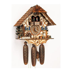 Schneider Cuckoo Clocks - 8-Day Black Forest House Cuckoo Clock w Night Shut-Off - 8-day rack strike movement. Individual hand-laid shingles. Beer drinker moves his beer glass every half and full hour. Water wheel. New wooden dial with roman numerals and hands. Wooden cuckoo calls and strikes on the half and full hour. 2.22 music on the full hour. Solid wood hand crafted and painted brown single figurines. Automatic night shut-off. Made from wood. Antique finish. Made in Germany. 13.2 in. W x 7.5 in. D x 13.4 in. H (18.1 lbs.). Care Instructions