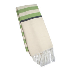 "Abanja - Barek Stripe Fouta Green Towel - The Barek Fouta towel envelops with oversized comfort and classic style. Featuring bold green stripes against a neutral background, a soft cotton blend forms the fringed beach accessory. 39""W x 72""H; 85% cotton/15% acrylic; Green, black and neutral stripes"
