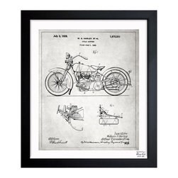 "The Oliver Gal Artist Co. - 'Harley 1928 Gray' Framed Art - Exclusive blueprints inspired by real vintage patent drawings & illustrations. Handcrafted in the Oliver Gal Artist Co. Studios in Miami, Florida. Produced on matte proofing paper and hand framed by professional framers in a 1.2"" premium black wood frame. Perfect for any interior design project, gifts, office décor, or to add special value to one of your favorite collections."
