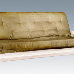 "Montana Woodworks - Homestead Futon Frame with Mattress, Lacquered - From Montana Woodworks, the largest manufacturer of handcrafted, heirloom quality rustic furnishings in America comes the Homestead Collection line of furniture products. Handcrafted in the mountains of Montana using solid, American grown wood, the artisans rough saw all the timbers and accessory trim pieces for a look uniquely reminiscent of the timber-framed homes once found on the American frontier. The mortise and tenon joinery system ensures a stable, strong platform for years of trouble free use. The included full-sized inner-spring mattress measures 54"" x 75"" x 8"" thick. The exterior mattress shell is non-removable. Mattress colors may vary. To best protect your investment, we recommend the purchase of an accessory cover. Some assembly required. Steel hinges provide years of trouble free use. 20-year limited warranty included at no additional charge. Hand Crafted in Montana U.S.A.; Solid, U.S. grown wood; Timbers and Trim Pieces are Sawn Square for Rustic Timber Frame Design Appearance; Heirloom Quality; 20 Year Limited Warranty; Durable Build, Fit and Finish; Each Piece Signed By The Artisan Who Makes It; Mortise and Tenon Joinery; Deluxe ""Inner-Spring"" Mattress Included. Dimensions: 34""W x 87""L x 41""H"