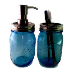 Foaming Blue  Mason Jar Bath Set, Soap Dispenser, Toothbrush Holder - This Ball Jar bath set will add rustic charm to any bathroom. It is handmade from two new repurposed Special Limited Edition American Heritage Collection Vintage Colored Commemorative Embossed Pint Jars. The canning jars alone are approximately 5 1/2 inches tall and with the soap dispenser pump it is approximately 7 1/2 inches.
