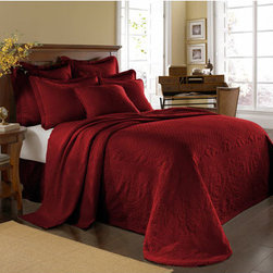 Historic Charleston Collection - King Charles Matelasse Scarlet Twin Bedspread-Only - - Steeped in Historic Charleston?s rich, classic style and decorative arts culture, the King Charles 100% cotton matelass� bedding collection offers a unique blend of European, Caribbean, and Asian influences.   - King Charles matelass� bedding offers a luxuriously soft bedspread, coverlet, bed skirt, shams and decorative accent pillows featuring classic 19th century motifs representing the sun, a topiary, a pheasant, and a pineapple.   - The superior design of the King Charles matelass� bedding ensemble can be traced back to England circa 1820, incorporating key influences from that time period including the fine arts and superior craftmanship.   - Each piece is crafted individually on special weaving looms to create the luxurious design that defines this lovely matelass� bedding collection.   - Highs and lows created during the jacquard weaving process allow the intricate designs and motifs to come to life.   - Designs from the archives of Historic Charleston?s heritage, were interpreted to create the lovely King Charles bedding set.   - Rolling arches, half-moons, double diamonds and scrolling vine details wrap around the classic topiary, pheasant, sun and pineapple motifs.   - Coverlet and bedspread drape beautifully over the bed to reveal rounded corners.   - Pair the bedspread or coverlet with bed skirt to create a complete look.   - Add coordinating, decorative shams and pillows to create the ultimate bedroom oasis.   - The heavy-weight, stonewashed matelass� of King Charles bedding ensures life-long durability and style for generations to come.   - Twin bedspread measures 80W x 112L.   - Crafted in Portugal.   - Stone-Washed.   - 100% cotton matelass�.   - The Historic Charleston Foundation was established in 1947 and is a nonprofit organization whose mission is to preserve and protect the historical, architectural and material culture that make up Charleston?s rich and irreplaceable heritage.   - Twin bedspread only, all other coordinating pieces sold separately.   - No decorative objects included. Historic Charleston Collection - 11182TWINBDSCT